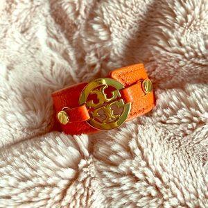 Tory Burch Orange/Gold Cuff Bracelet